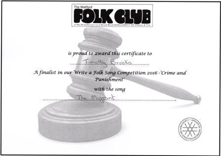Watford Folk Club Competition certificate