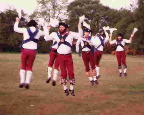 A Herga Morris set with their feet well off the ground. Taken at dawn on Stanmore Common, c1980
